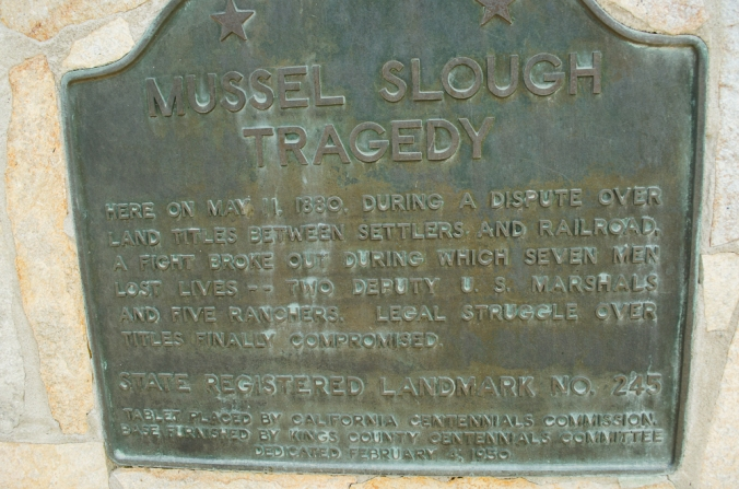 Marker commemorationg the tragedy at Mussel Slough, California